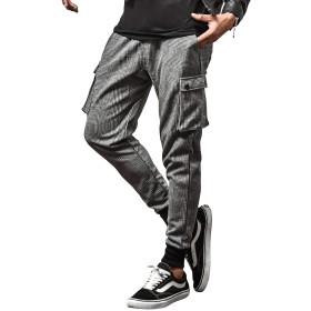ルービック(RUBIK) ジョガーパンツ メンズ スウェットパンツ カーゴパンツ スキニーパンツ テーパード 無地 S(サルエルカーゴ) グレンチェック