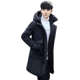 ODFMCE ダウンコート メンズ ロング コート ダウンジャケット 秋冬 防寒 厚手 フード付き ビジネス 大きいサイズ (ブラック, S)