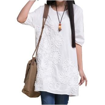 MYOU 無地 チュニック ワンピース レディース ゆったり Aライン レディースファッション 大きいサイズ 綿麻 半袖