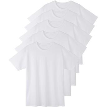 インナーシャツ メンズ 5枚組 綿100% 半袖 クルーネック Tシャツ 肌着 L