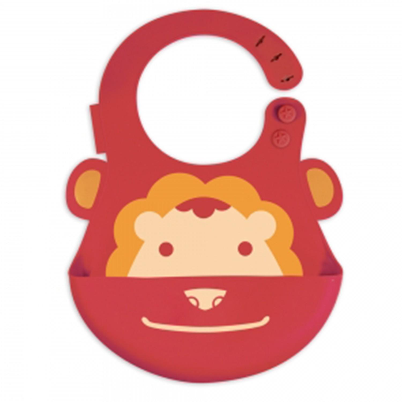 MARCUS&MARCUS - 動物樂園矽膠立體圍兜-紅獅子