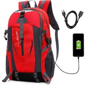 ALTBP防止耐傷USB充電ポート登山 リュック ザック 軽量 山 バック パック 大容量 撥水 加工アウトドアバッグ 旅行スポーツバッグ 通学 通勤 (レッド)