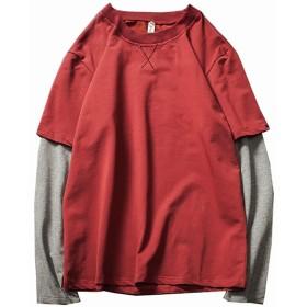 Spinas (スピナス) メンズ 重ね着風 クルーネック 長袖 Tシャツ フェイクレイヤード 長T ロンT ストリート系 全3色(ネイビー/レッド/ブラック)