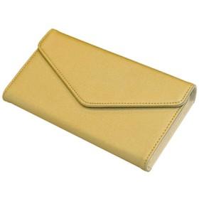 CRESTIA 通帳ケース 磁気防止 収納力アップ スマートケース レディース 財布 マルチケース (ゴールド×ベージュ)