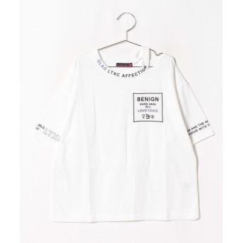 【21%OFF】 ラブトキシック 衿スリットロゴTシャツ レディース オフホワイト 160 【Lovetoxic】 【タイムセール開催中】