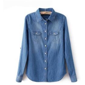AIJUAN レディース ロングシャツ デニムシャツ 修身 着痩せ カジュアル ポロシャツ 長袖 薄い スプライス ポケット 快適 きれいめディープブルーXL