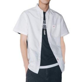 Aroniko シャツ メンズ 半袖 オックスフォードシャツ 夏服 無地 綿 100% カジュアル 薄手 オシャレ 大きいサイズ ホワイト XXXXL