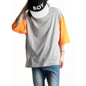 日本製 袖カラー切替 デザインクルーネック 半袖 ビッグTシャツ メンズ 国産 ワイド mens ストリートモード カットソー グレー×オレンジ FREEサイズ