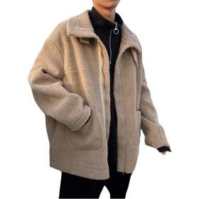 PIITE 中綿ジャケット メンズ 冬服 厚手 アウター カジュアルコート ゆったり ブルゾンジャケット もこもこ 防寒 ジャンパー ダウンコート 立ち襟 ショートコート 上品 暖かいカーキ9
