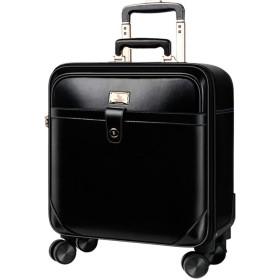 Osonm 牛革 防水 擦り傷防止 耐摩耗 機内持ち込みスーツケース 預け入れスーツケース パソコンバック ビジネススーツケース 横型 P233701 (372146.5, ブラック)