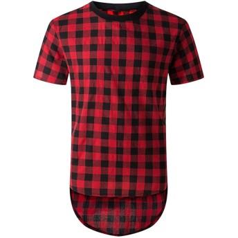 (ビモラ) VIMORA メンズ ヒップスターTシャツ ヒップホップ チェック柄シャツ ジッパートリム (XXL, 赤)