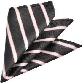 HAVILAH MODE ポケットチーフ お洒落な色柄 【CB 811】チーフ 濃グレー 白線 ピンク線