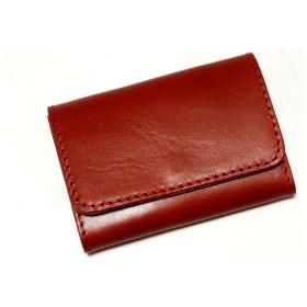 [TOCHIGI LEATHER(とちぎ革)] 名刺入れ カードケース 栃木レザー フラップ こだわりの 天然皮革仕様 牛革 日本製 (レッド)
