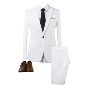 GETS(ゲッツ) スーツ メンズ 2点セット スリーピース 上下セット ジャケット スラックス セットアップ 1つボタン ビジネススーツ スリム 着心地良い 礼服 結婚式 就職スーツ オールシーズン シンプルデザイン 無地 スタイリッシュスーツ パーティー スーツ (ホワイト,M)
