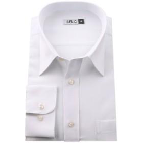 長袖ワイシャツ メンズ レギュラーカラー NR001(無地-ノーマル) M(80)サイズ/l-white-m-80-nr001