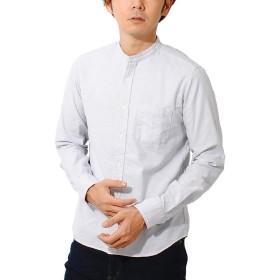 ciao (チャオ) 日本製 オックスフォード バンドカラーシャツ 長袖 メンズ (L, グレー)