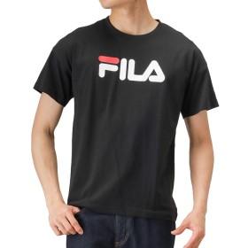 FILA(フィラ) 衿テープ ビッグロゴTシャツ 半袖Tシャツ プリントTシャツ FH7522 メンズ ブラック:M
