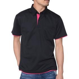 ティーシャツドットエスティー ポロシャツ ドライ 半袖 レイヤード ボタンダウン UVカット 4.4oz メンズ レディース ブラック×ホットピンク S