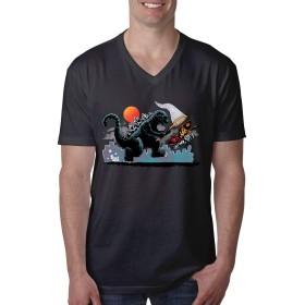 Catching Kaiju - Godzilla ゴジラ Tシャツ メンズ ユニーク コットン プリントtシャツ Vネック サマートップス 流行 吸汗速乾 カジュアル 通学 通勤 男女兼用