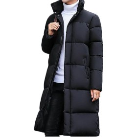 Lisa Pulster メンズ ダウンコート ロング 秋 冬 長袖 無地 上品 ゆったり 軽量 厚手 ダウンジャケット 柔らかい 上着 防風 防寒 韓国風 通勤 ダウンアウター (ブラック, 2XL)