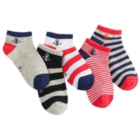 ( AngelKids ) ショート丈 ボーダー マリン カラー 靴下 5足 セット ジュニア キッズ 国旗模様 (16-18㎝) …