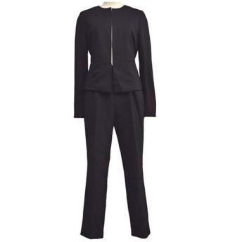 (訳あり)セレモニー スーツ パンツスーツ ブラック 2点セットスーツ (9号)