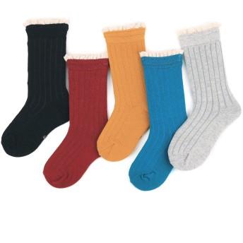 (フレミ) Flammi クルーソックス キッズ コットンリブハイクルーソックス 女の子 可愛い靴下 シンプル無地 フリルソックス 3-12歳 5足組 (M)