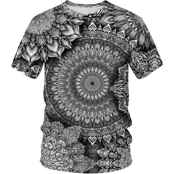 Pizoff(ピゾフ) メンズ Tシャツ 丸首半袖 花柄 総柄 おしゃれ ストリート 大きいサイズ ユニセックス お揃い カットソー 夏AM089-90-M