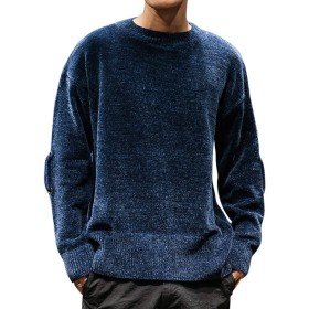 YFFUSHI メンズ ニット セーター 厚手 ゆったり M-2XL 丸首 長袖 クラーデション 無地 黒 紺 灰色 ニットセーター 防寒 おしゃれ シンプル