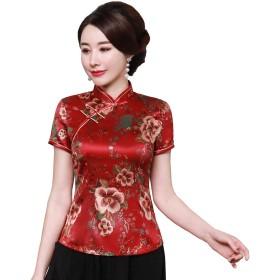 上海物語 花柄 半袖 ブラウス レディース