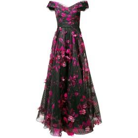 Marchesa Notte フローラル ロングドレス - ブラック