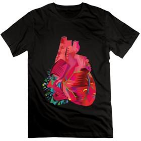 猫Maru 人間と赤い心臓 人気 プリント 夏 Tシャツ メンズ 半袖 ブラック S