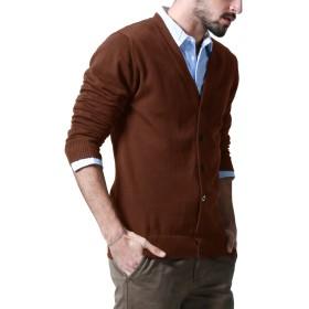 Matchstick (マッチスティック) カーディガン メンズ ビジネス 大きいサイズ ニット Vネック 無地 目立つ 長袖 春 春服#Z1522(3XL,ブラウン)