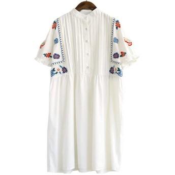 (ミドセ)レディース チュニック ワンピース スタンドカラー森ガール 花柄刺繍 可愛い 膝丈 Aライン ドレス (ホワイトL)