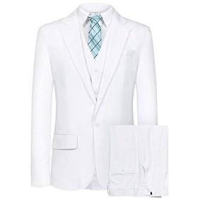 Hanayome メンズスーツスリーピース スリム メンズ ビジネス 2つボタン スーツ スタイリッシュ 入社式/卒業式/就職/結婚式 礼服 防シワ 大きいサイズ SI80(ホワイト,54R) [並行輸入品]