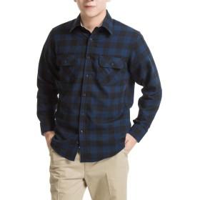 メンズ 長袖 シャツ オックスフォードシャツフランネルシャツ メンズ カジュアル シャツ 柔らかい 水洗い (RMFL001C, S)