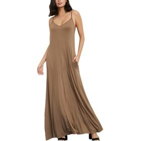 YACUN 女性のロングマキシドレスカジュアルシャツストラップビーチサンドレス Khaki XL