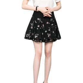 (アッシュランゲル)ASHERANGEL レディース スカート ハイウエスト ショート丈 花柄 カジュアル シフォン 可愛い プリーツ 7番の色 L