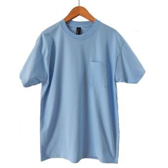 (ヘインズ) HANES BEEFY TEE POCKET ヘインズ メンズ ポケットTシャツ 5190p ビーフィー [並行輸入品] (XL, ライトブルー)