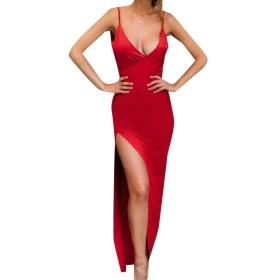 Romancly 女性ディープVネックスプリットトリムフィットバックレスフルサークルパーティードレス Red M