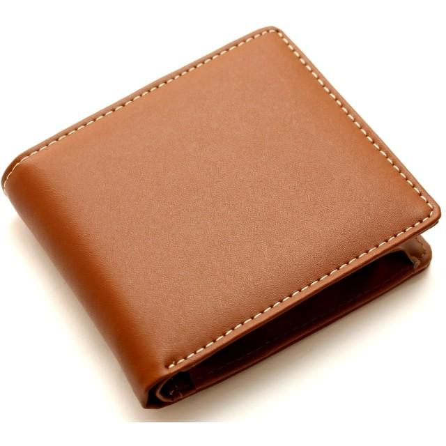 [メンズ カンパニー]Men's company 二つ折り財布 牛革 (キャメルブラウン)