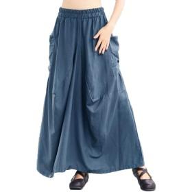 Co&Merchロングスカート パンツ 兼用 ポケット付き カジュアル ブルー