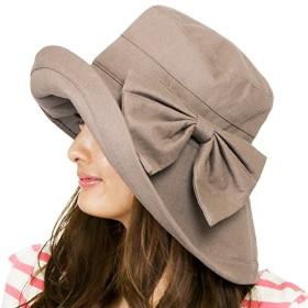 (ザクション) Zaction ハット レディース 帽子 折りたたみ サイズ調整 UV つば広リゾートハット [M便 5/9]2 薄茶