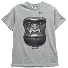 【JR-8316M】顔ゴリラ 天竺 半袖 クルーネック Tシャツ (グレー杢, LL)