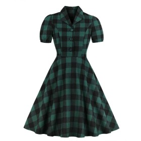 MISSVIN レディースグリーンチェックボタンダウンポケット1940年代ビンテージシャツドレス (3XL)