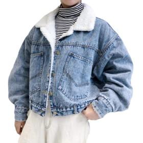 ZhongJue(ジュージェン)レディース デニムジャケット 裏ボア ゆったり ショートコート 裏起毛 ジージャン Gジャン 原宿系 韓国ファッション 冬服 あったか(6ダークブルー)