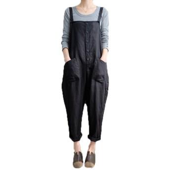 VONDA サロペット 無地 コットン オールインワン 夏 秋 パンツ ゆったり シンプル 可愛い ブラック 2XL