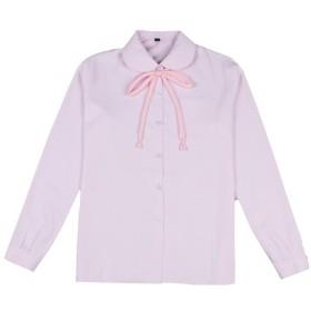 Phoenix's Shop スクール ブラウス シャツ シンプル かわいい丸襟 ワイシャツ 長袖 女の子 レディース 学生 春 夏 女子制服 (XS, ピンク)