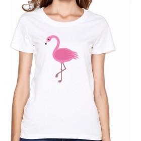 KY レディース U首シャツ 今季最新 Tシャツ ピンク・フラミンゴ 鳥 マンガ 可愛い Tシャツ White 半袖シャツ 着心地が良い Size S