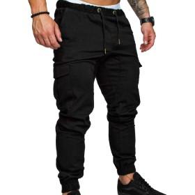 AngelSpace メンズカーゴワークリラックスフィットメッセンジャービーム足パンツ Black XL